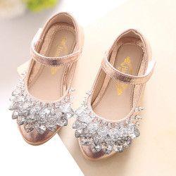 Corazón Rhinestone princesa zapatos oro rosa plata cuero niñas niños zapatos para Dance Party princesa solos zapatos