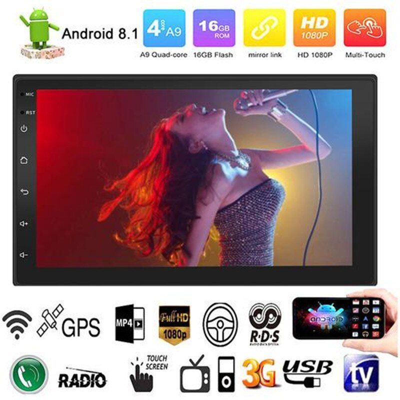 Android 8.1 Quad Cores 7 Inch 2 DIN Touch Screen HD Car BT USB MP5 MP4 MP3 Player Radio FM GPS WIFI Steering Wheel Control