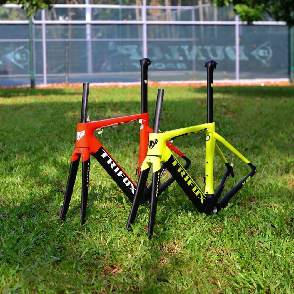 TRIFOX Road Carbon faser Fahrrad Rahmen Di2 & Mechanische 700C Carbon Rennrad Rahmen + gabel + headsets + clamp + sattelstütze