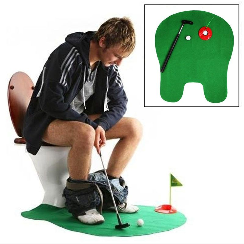 Free Shipping Bathroom Funny Golf Toilet Time Mini Game Play Putter Novelty Gag Gift Mat Set