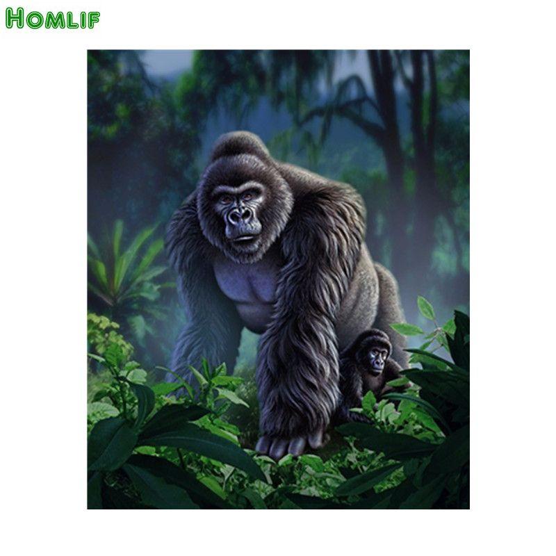 5D Diy Diamond Painting Animal Orangutan Pictures Of Rhinestones round Cross Stitch Needlework Home Decorative Gifts chimpanzee