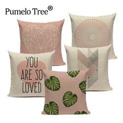 Rose Géométrique Nordique Coussin Couverture Tropic Feuille De Palmier Couverture Linge Coussin Cas Canapé Lit Coeur Décoratif Taie D'oreiller