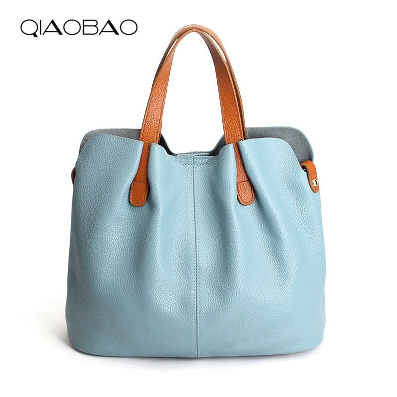 QIAOBAO Women Handbag 100% Genuine Leather Tote Shoulder Bag Bucket Ladies Purse Casual Shopping Bag Satchel <font><b>Capacity</b></font> Totes