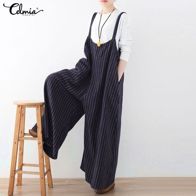 Celmia Rompers Women Jumpsuit 2018 Autumn Striped Playsuit Vintage Backless Oversized Casual Loose Playsuits Plus Size Overalls