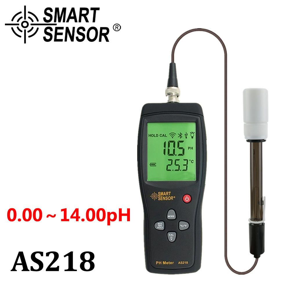 digital PH meter the Soil ph Meter PH tester SmartSensor AS218 0.00~14.00pH Moisture measuring <font><b>instrument</b></font> water PH acidity meter