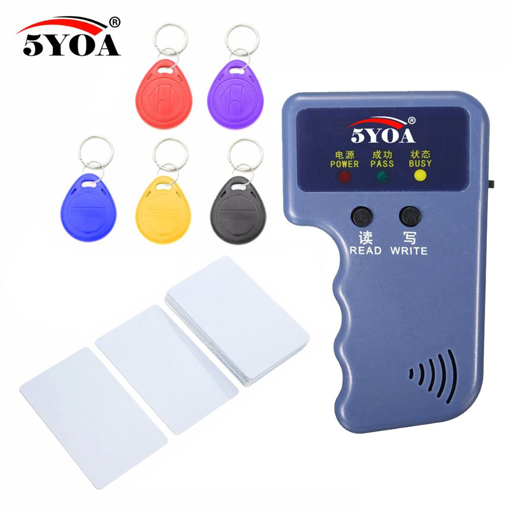 125 KHz EM4100 RFID copieur graveur duplicateur programmeur lecteur + T5577 EM4305 réinscriptible ID porte-clés étiquettes carte 5200 portable