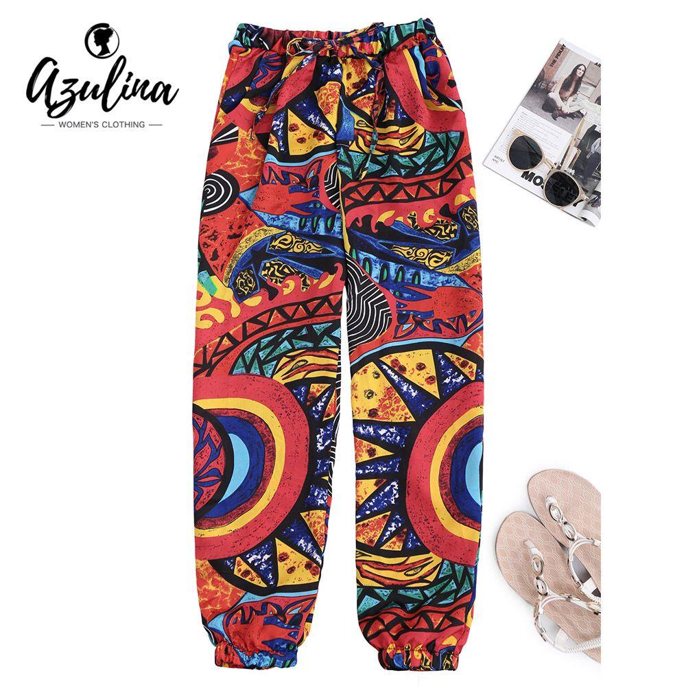AZULINA Graffiti Print <font><b>Tapered</b></font> Drawstring Beach Pants Women Pant Mid Waist Pants Female Women Trousers Casual Summer Loose Pants