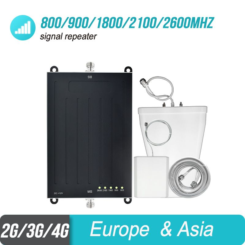 Lintratek Semi-Globalisierung 5 Band Signal Booster 800/900/1800/2100/2600 mhz Repeater B20 /B8/B3/B1/B7 Verstärker Antenne Kit #4 + 1