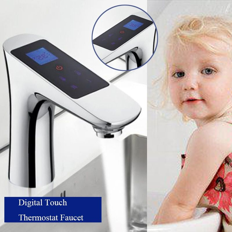 JMKWS Deck Mounted LCD Digital Display Basin Faucet Touch Screen Thermostatic Bathroom Single Tap Chrome Brass Faucets Washbasin