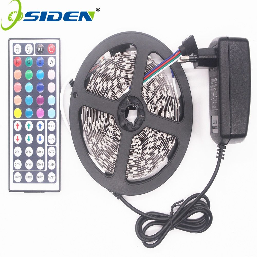 OSIDEN RGB LED Strip Led Light <font><b>5050</b></font> SMD 5M 300led Tape Waterproof RGB diode ribbon 44Key IR Controller 3A Power Supply