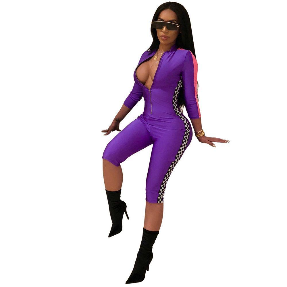 Chaud femmes serré body Sexy salopette nuit Club barboteuses parti course Style combishort moulante combinaison sport mollet longueur pantalon