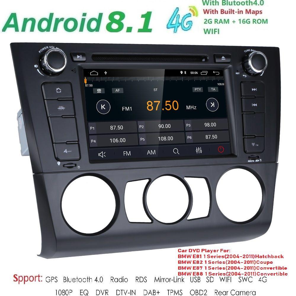 1 Din Android 8.1 Auto Radio GPS Multimedia dvd-speler Voor für BMW 1 Serie E81 E82 E87 E88 I20 2004-2011 2g Ram 16g ROM BT Wifi