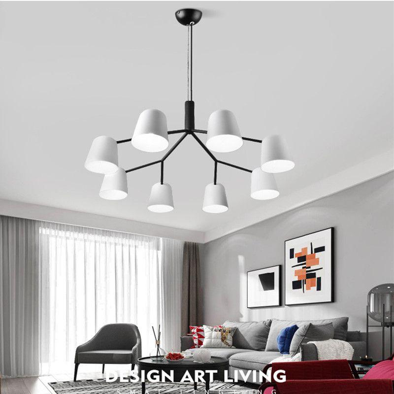 3/6/8/10 Heads Modern Loft Italy Designer Chandelier Romantic Mater Room White Wrought Iron Dinner Light Fixtures Free Shipping