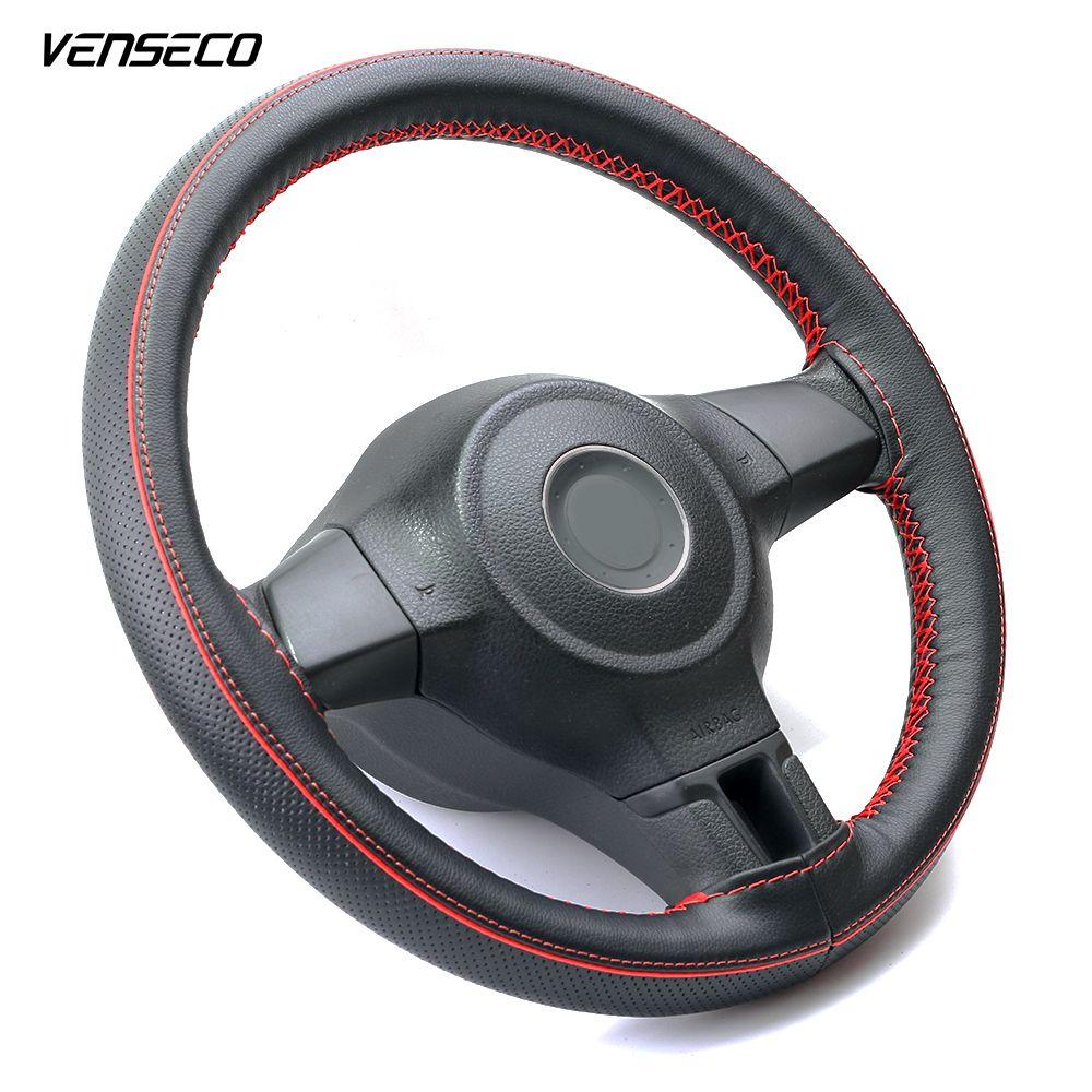 VENSECO soupirail design couvercle de volant contraste tuyauterie décoration coudre couverture la ligne rouge classique tresse sur roue