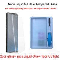 2pcs Nano Liquid full Glue Tempered Glass&1pcs UV Light&2pcs Liquid Glue For Samsung Galaxy Note 8 S8 S9 Note 9 Screen Protector