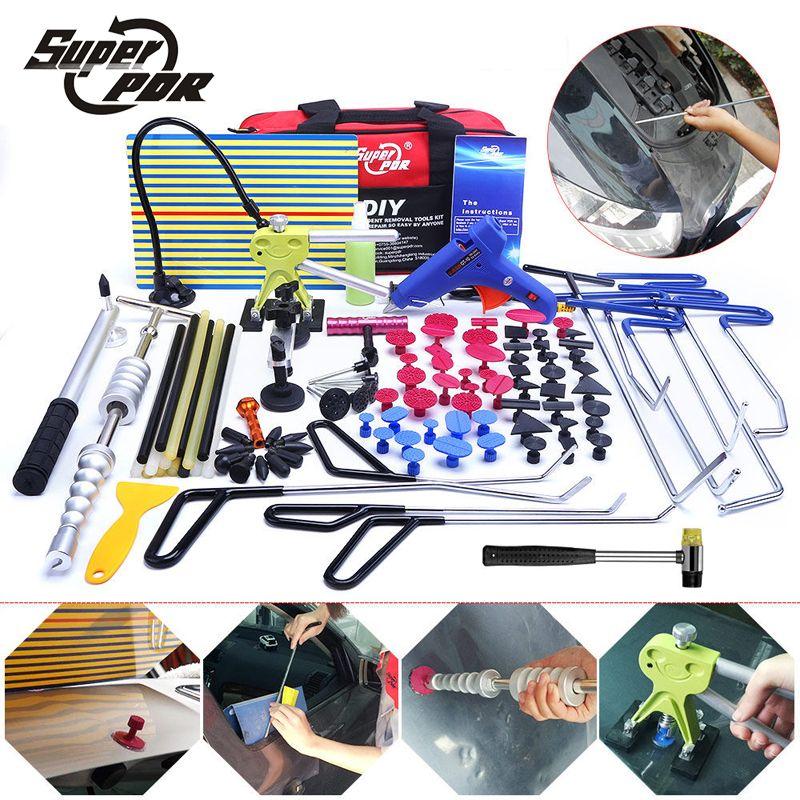 PDR hooks tools Paintless Dent removal tool kit Push Rod Car Crowbar Reflector Board pulling bridge glue puller hand tools set