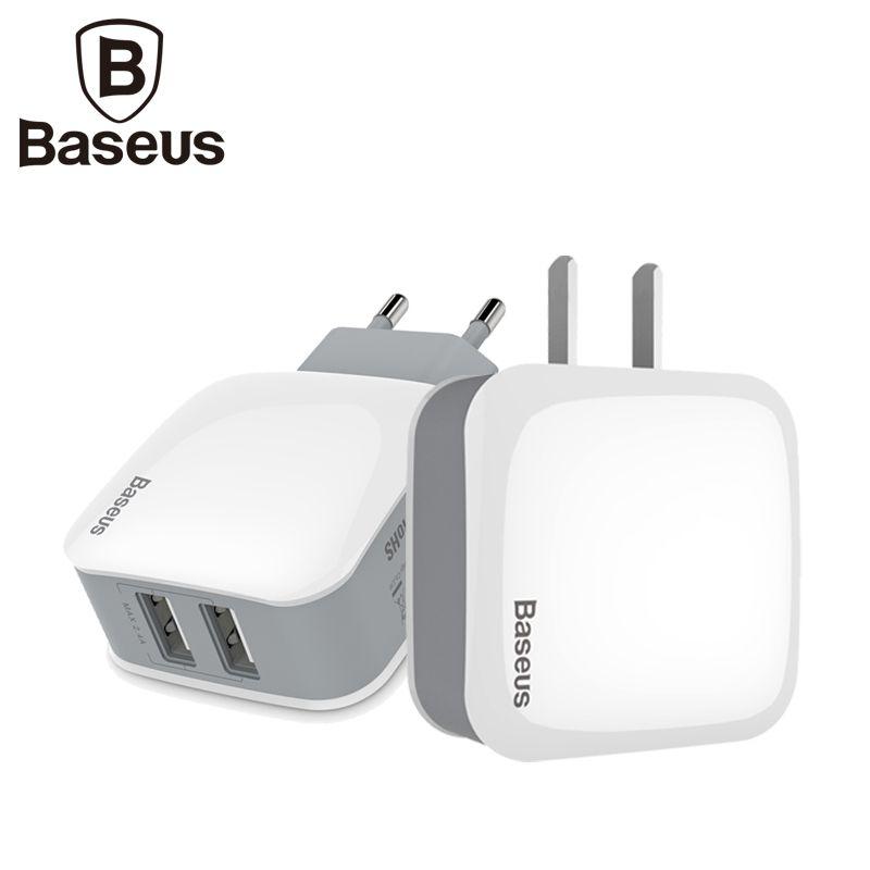 Baseus 5V2. 4A Double 2 Ports USB Mur Chargeur Adaptateur NOUS UE Plug Mur Voyage USB Chargeur Mobile Téléphone Chargeur Pour Smartphone