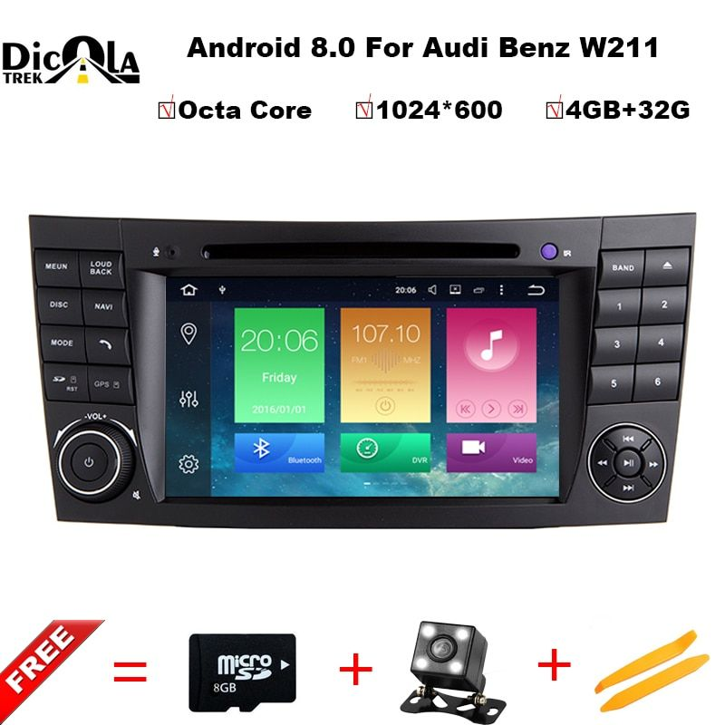 Android 8.0 4G+32G 1024*600px HD capacitive screen Car DVD player For BENZ W211 E Class W219 CLS Player GPS TV wifi Radio RDS BT