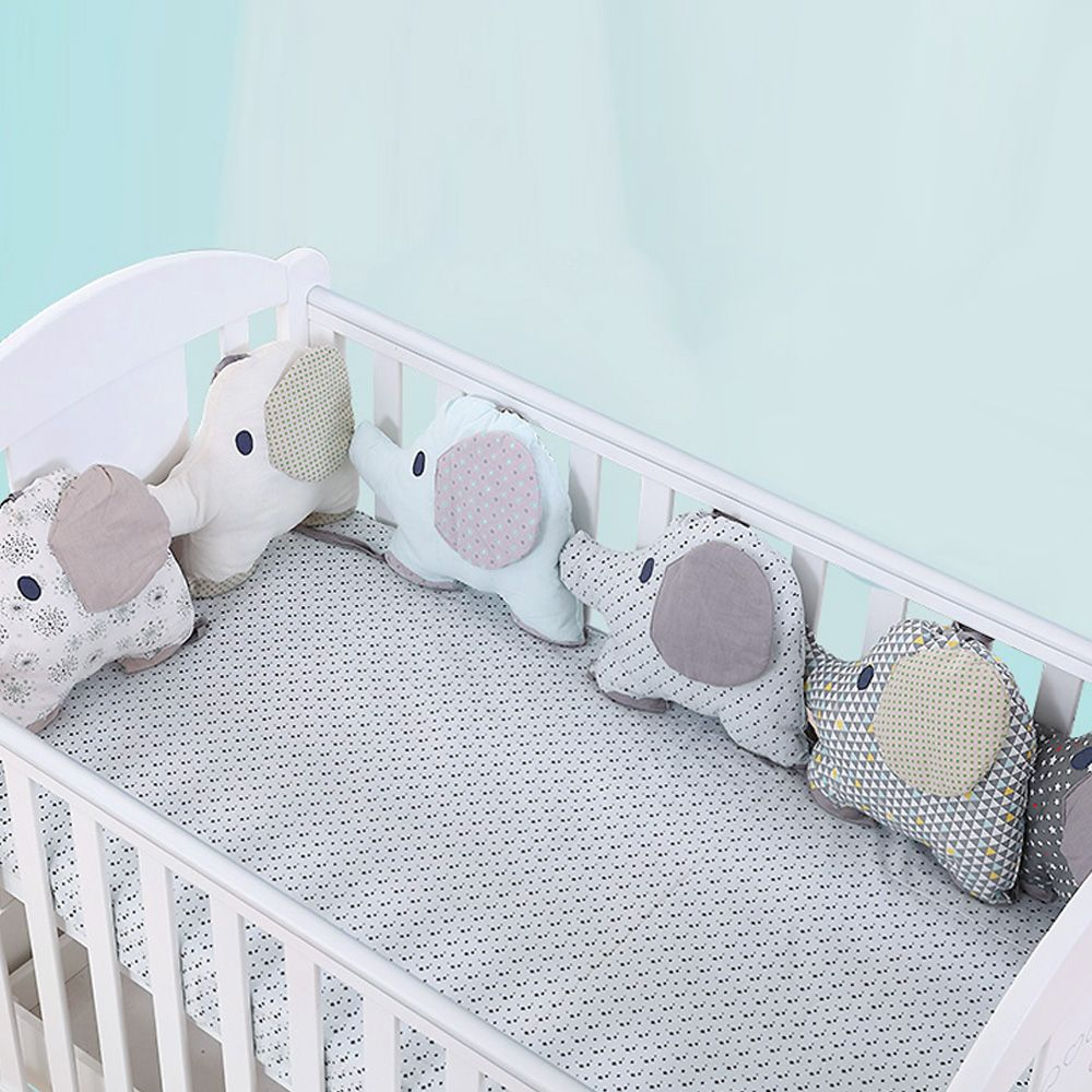 6PCS Baby Bed Bumper Flexible Combination Backrest Cushion Aimal Elephant Crib Bumper Soft Infant Bed Around Protection Baby Toy