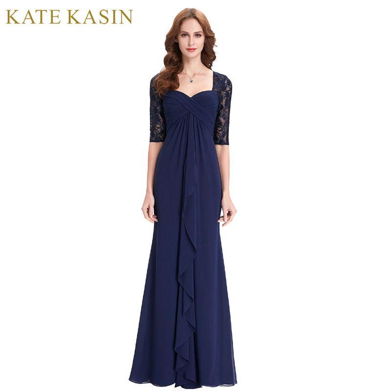 Real Photo Half Sleeve Evening Dress 2018 Ruffles Chiffon Mother of the Bride Dresses Navy Blue Long Dress Evening Gowns 0136
