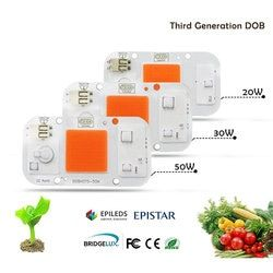Nueva DOB regulable LED crece espectro completo entrada 220 V AC 20 W 30 W 50 W para planta de interior plántulas crecen y florecen COB Chip