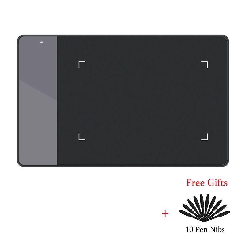 HUION 420 tablette de dessin graphique numérique (parfait pour osu) tablette stylo pression Signature Pad avec dix plumes de stylo noir et blanc