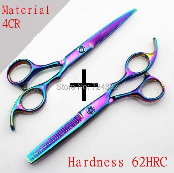 Professionnel Japon 440c 6 et 5.5 pouce de taille en-ciel cheveux ciseaux ensemble de coupe cisailles éclaircie barber ciseaux de coiffure ciseaux