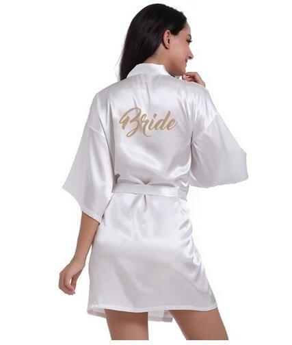 RB71 mode Robe de mariée lettre mariée sur la Robe dos femmes court Satin mariage Kimono vêtements de nuit Spa Robes pour dames