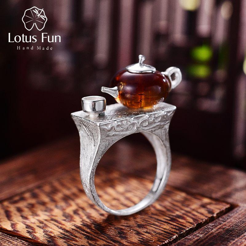 Lotus Fun Real 925 Sterling Silver Natural Amber Original Handmade Fine Jewelry Vintage Ring Cute Teapot Rings for Women Bijoux