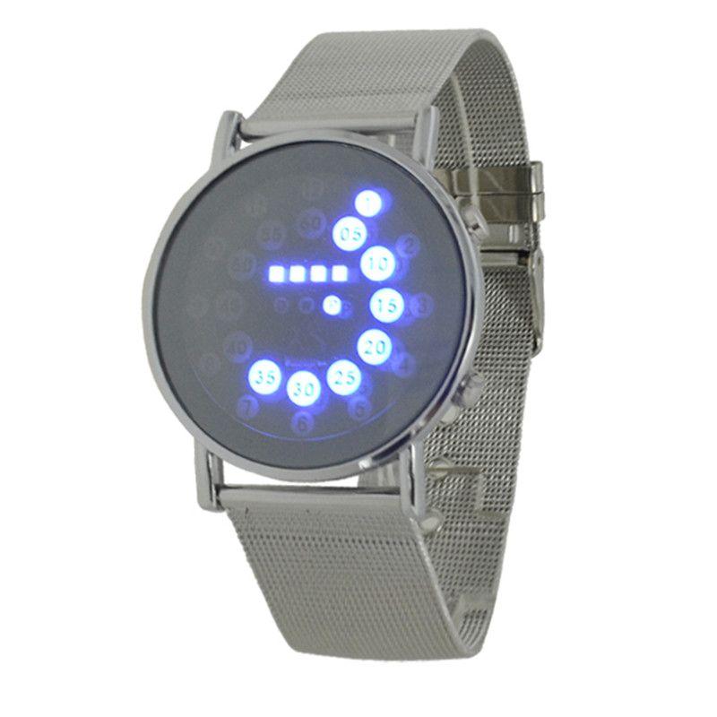 2017 Hombres Calientes deportes azul multi luz LED pantalla bola malla de acero inoxidable banda digital semana fecha moda mujeres relojes relogio