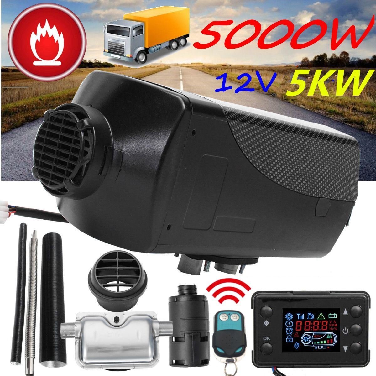 12V 5000W LCD Monitor Single Hole Air diesels Fuel Heater 5KW For Trucks Boats Bus With Remote Control and Silencer Car Heater