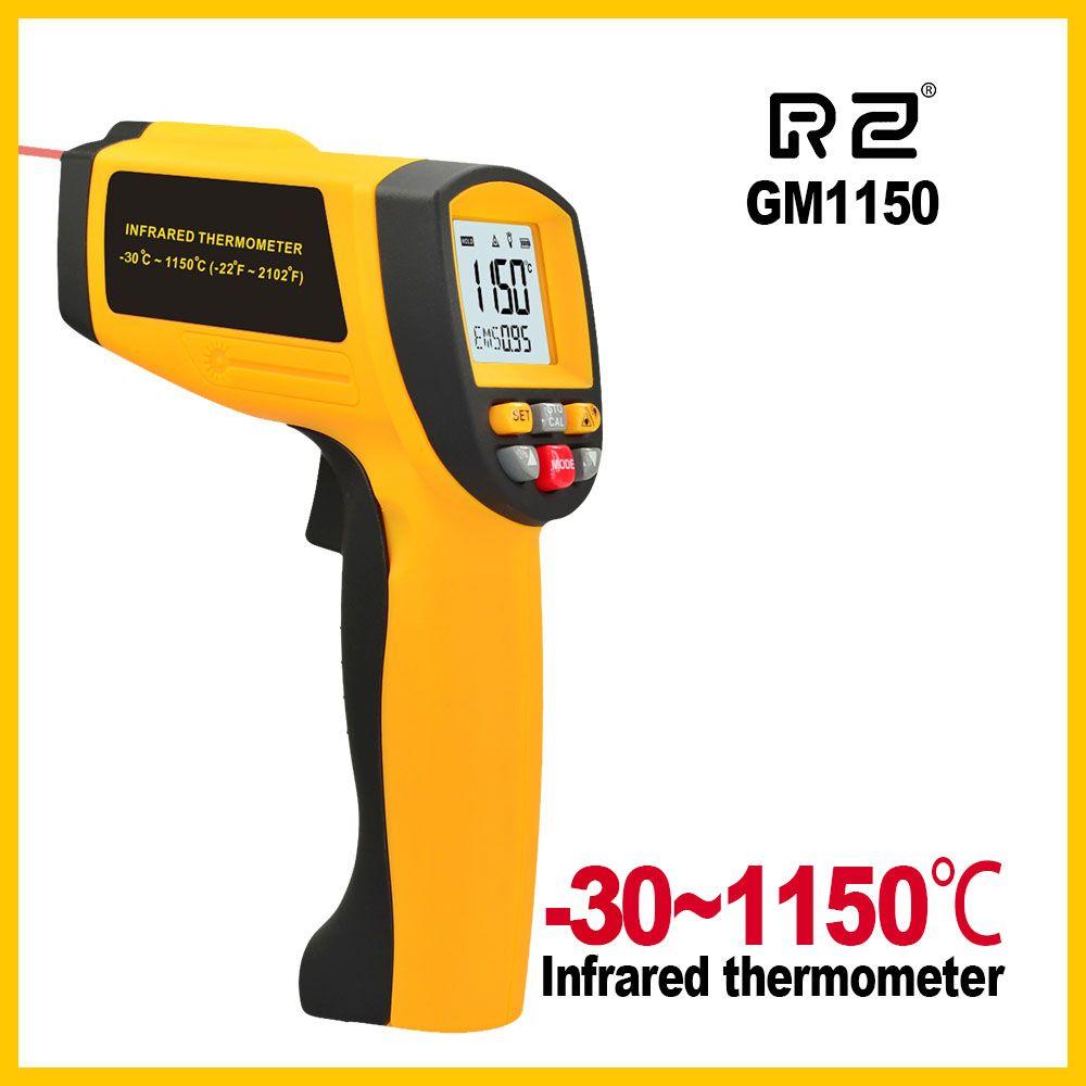 GM1150 sans Contact 12:1 LCD affichage IR infrarouge numérique température pistolet thermomètre-30 ~ 1150C (-58 ~ 2102F) 0.1 ~ 1.00 réglable