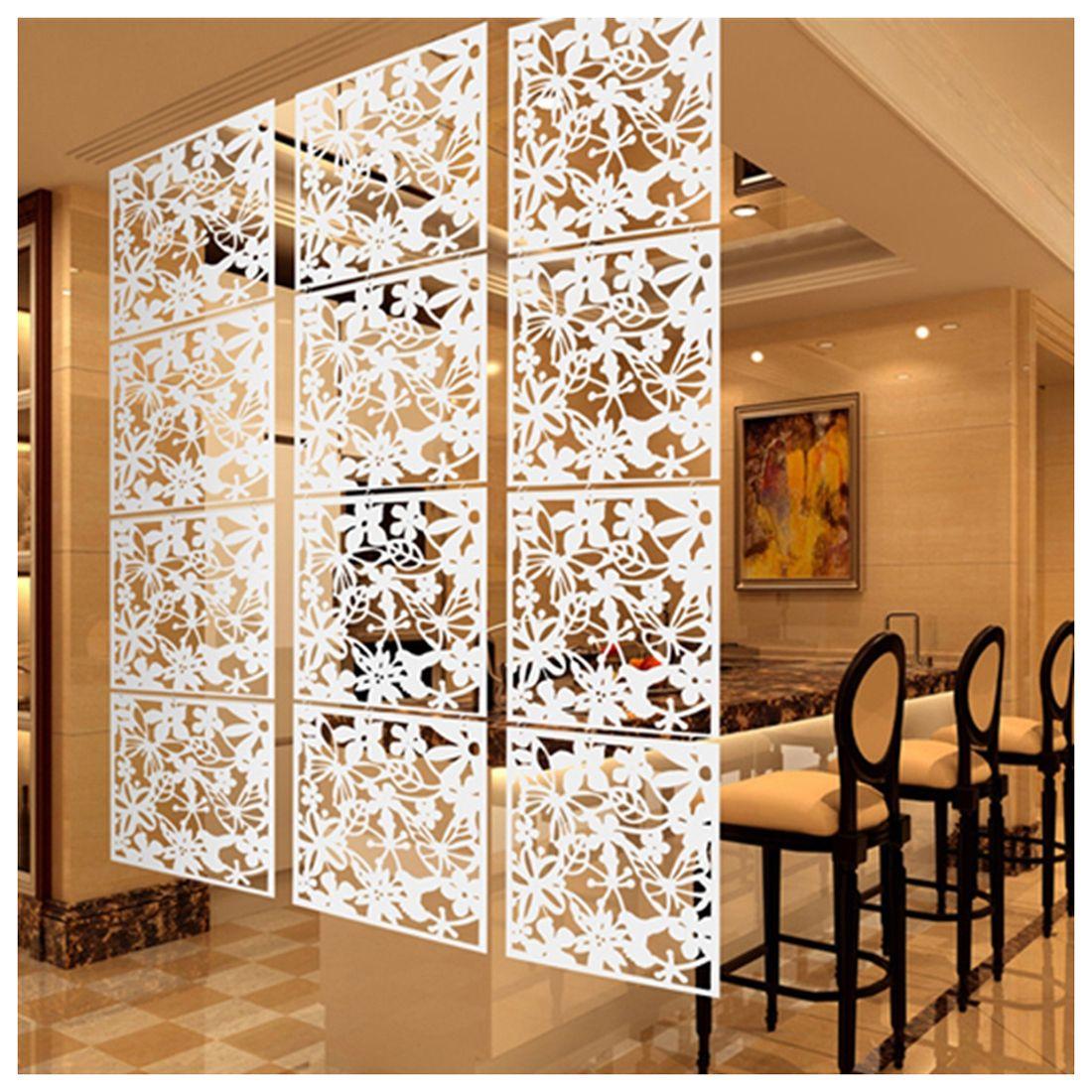 Mode 4 pcs Papillon Oiseau Fleur Suspendus Écran Partition Diviseur Chambre Panneau de Rideau Accueil Décor Blanc