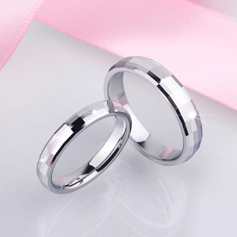 Gravure gratuite ne se fanent jamais blanc de tungstène anneaux pour les Couples de mariage haute poli Comfort Fit taille 5 6 7 8 9 10