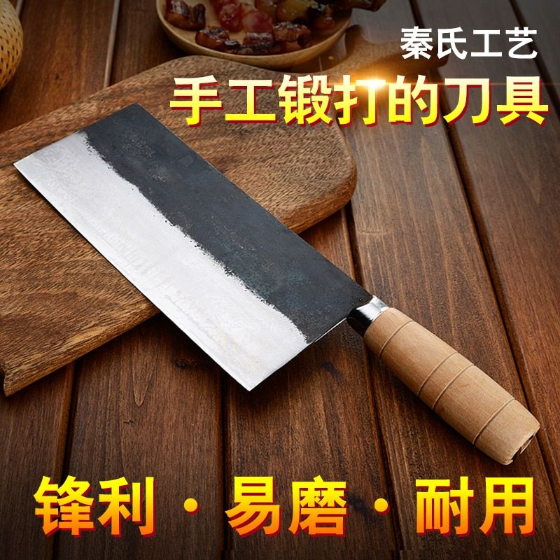 QinS Handmade Forged Kitchen Knife Mulberry Slicing Knife Professional Chinese Style Chef Cutting Meat Vegetable Knife Cleaver