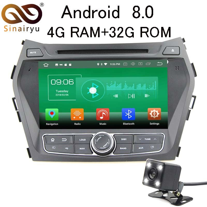 Sinairyu 4G RAM Android 8.0 Car DVD For Hyundai IX45 Santa Fe 2012 2013 2014 Octa Core 32G ROM Radio GPS Player Head Unit