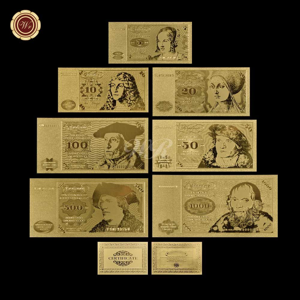 Metal Gold Banknote Album Germany 5 10 20 50 100 500 1000 Deutsche Mark Banknote Low Price Gold Foil Banknote For Souvenir