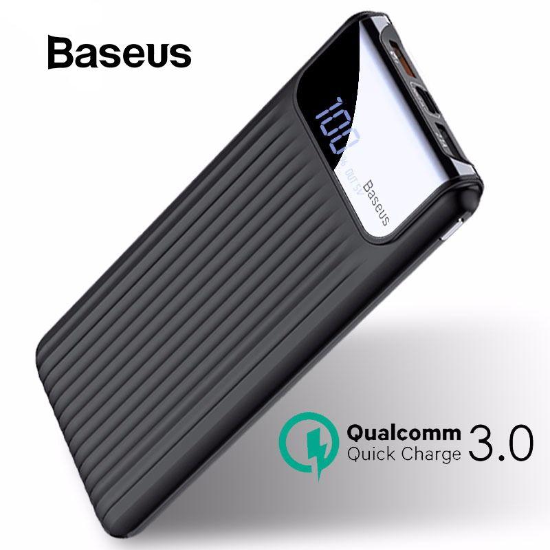Chargeur portatif à deux bornes usb Baseus 10000 mAh LCD à Charge rapide 3.0 pour iPhone X 8 7 6 Samsung S9 S8 Xiaomi chargeur de batterie Powerbank QC3.0
