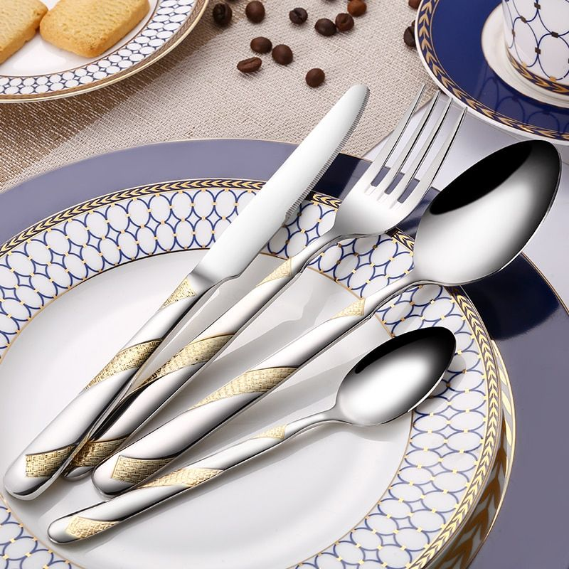 24Pcs Stainless Steel Gold Plated Cutlery Set Dinnerware Tableware Silverware Dishwasher Safe Dinner Fork Knife Drop Shipping