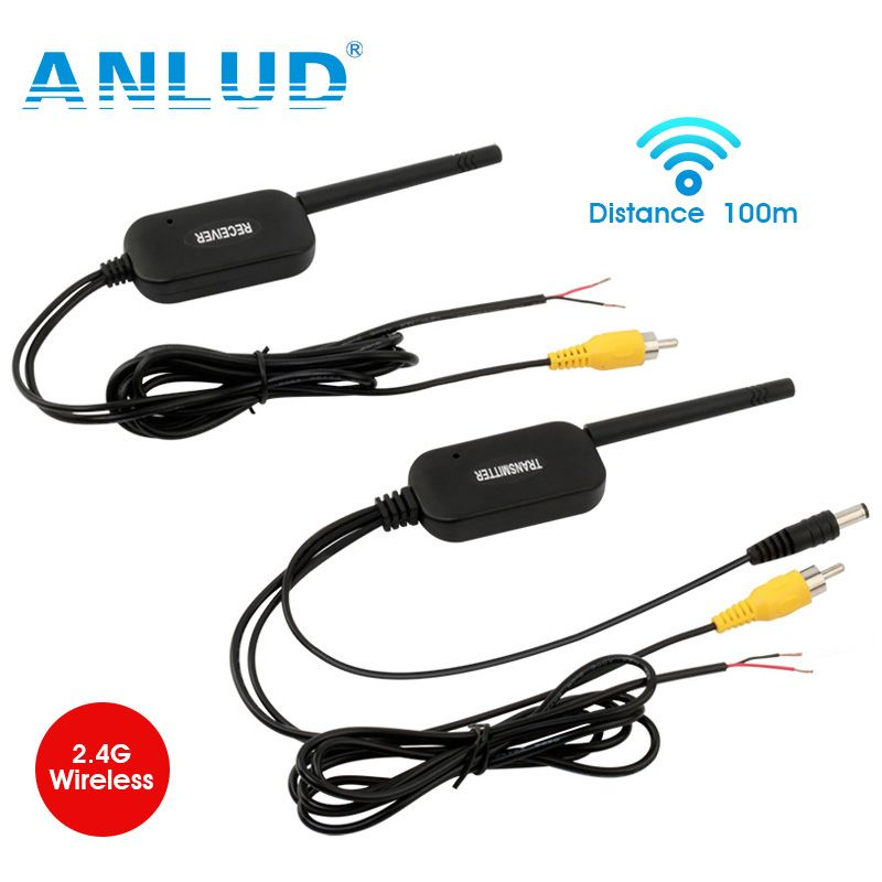 ANLUD 2.4G Wireless Video Transmitter Receiver Kit for Car Bus Rear View Camera DVD Monitor Screen Reverse Backup Rearview Cam