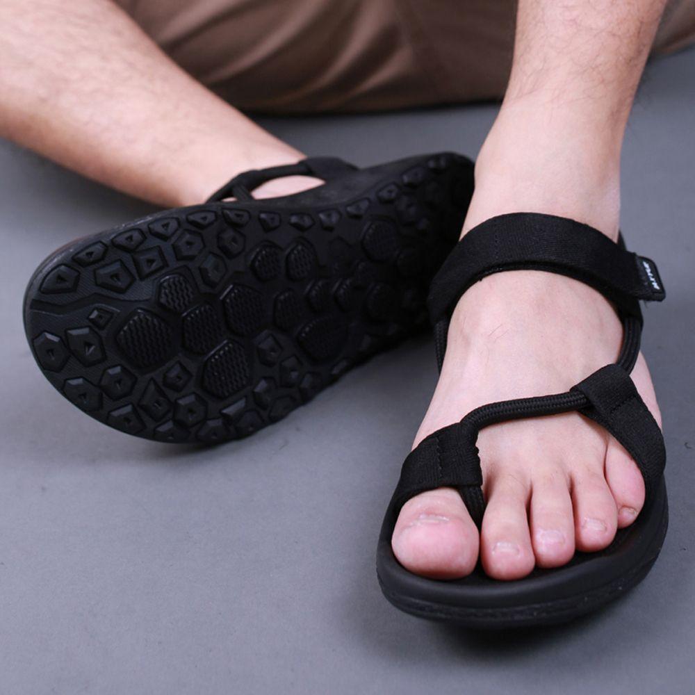 Men sandals 2017 Summer Men Black Beach Sandals high quality Unisex summer flat shoes sandalias para <font><b>hombre</b></font> Size 45 46