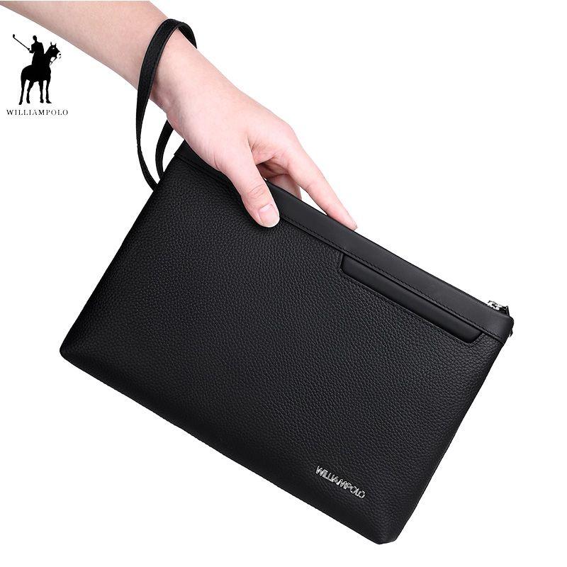 Genuine Leather Men's Business Clutch Bag Organizer Wallet Male Clutches WILLIAMPOLO 2018 Fashion Minimalist Black Clutch Wallet