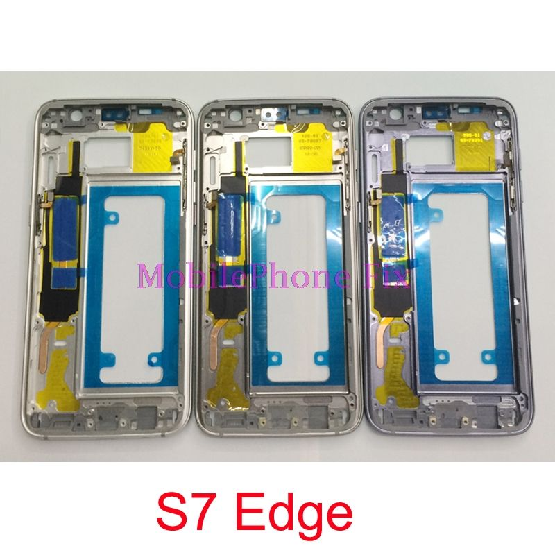 For Samsung Galaxy S7 Edge G935 Middle Frame Housing Metal Outer Frame Bezel Chassis + Power Volume Button Parts
