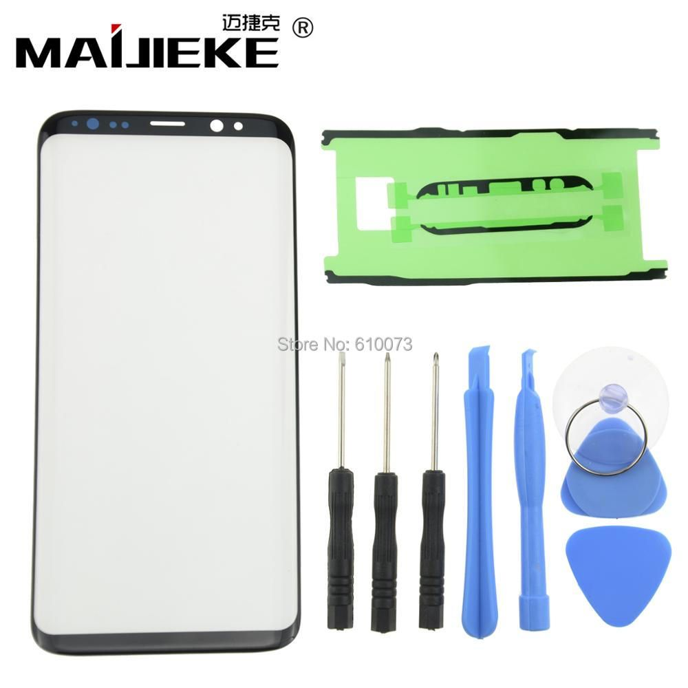 Front Outer Screen Glass Lens Black Replacement For Samsung Galaxy S9 S8 Plus Note 8 Front Screen LCD Glass Lens+Adhesive+Tools