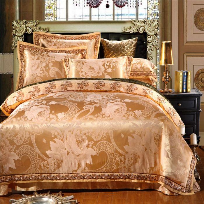 high quality cotton luxury european style jacquard golden hotel bed sheet set bedclothes duvet quilt cover set bedding set