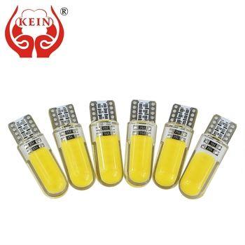 KEIN 10 PCS T10 W5W LED voiture intérieur lumière COB silicone auto Signal lampe 12 V 194 501 Side Wedge parking ampoule pour lada car styling