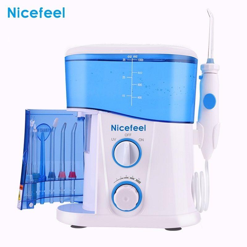 Nicefeel réglable 10 niveau dentaire fil d'eau Oral irrigateur Flosser dents nettoyant 1000 ML grande capacité réservoir UV stérilisation