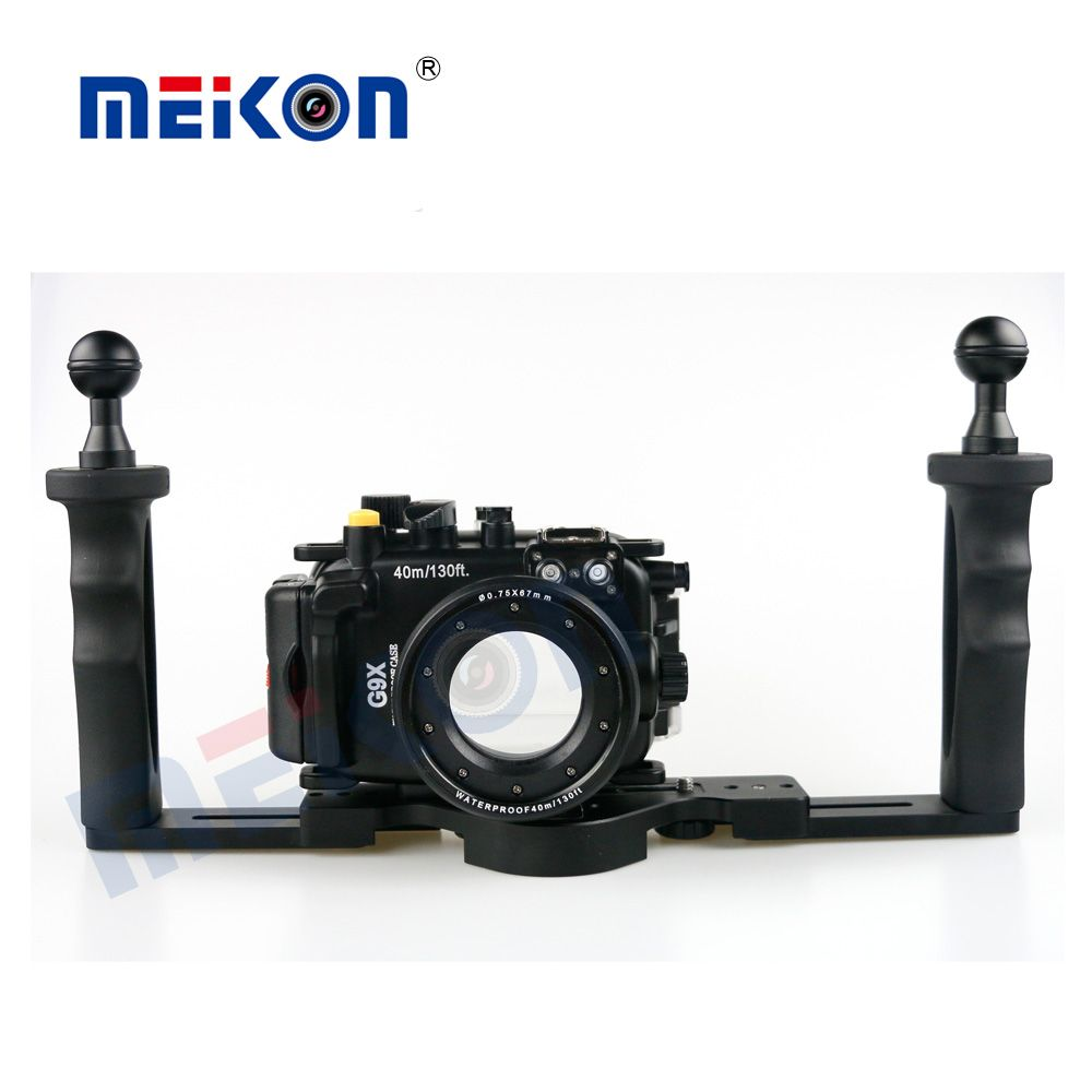 Meikon 40M/130FT Underwater Camera Waterproof housing case for Canon G9X + Two Hands Housing Tray
