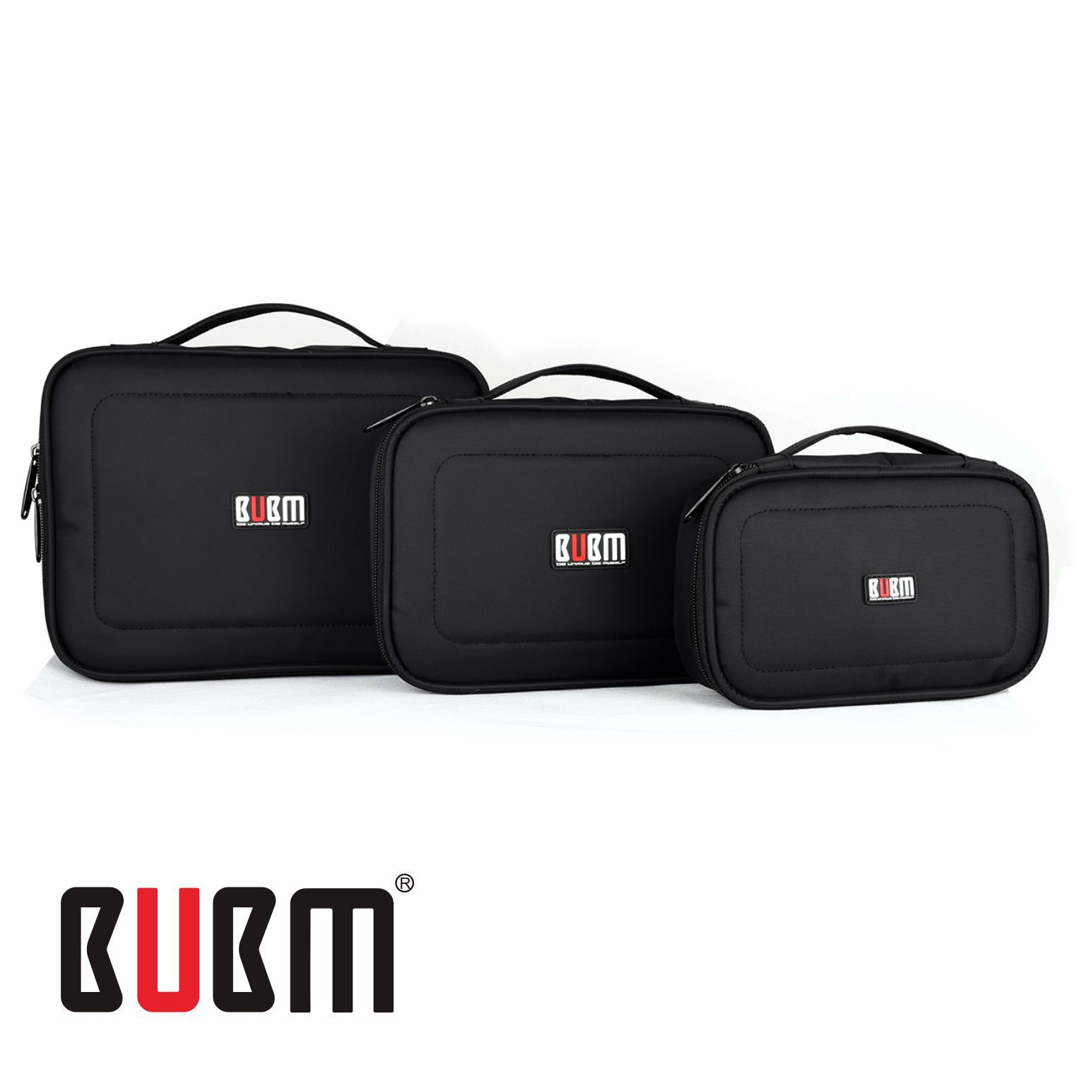 BUBM 3 Pcs/Set Black Waterproof Portable Travel Organizer Case Functional Cosmetic Bag For iPad Mini iPhone Gopro Camera
