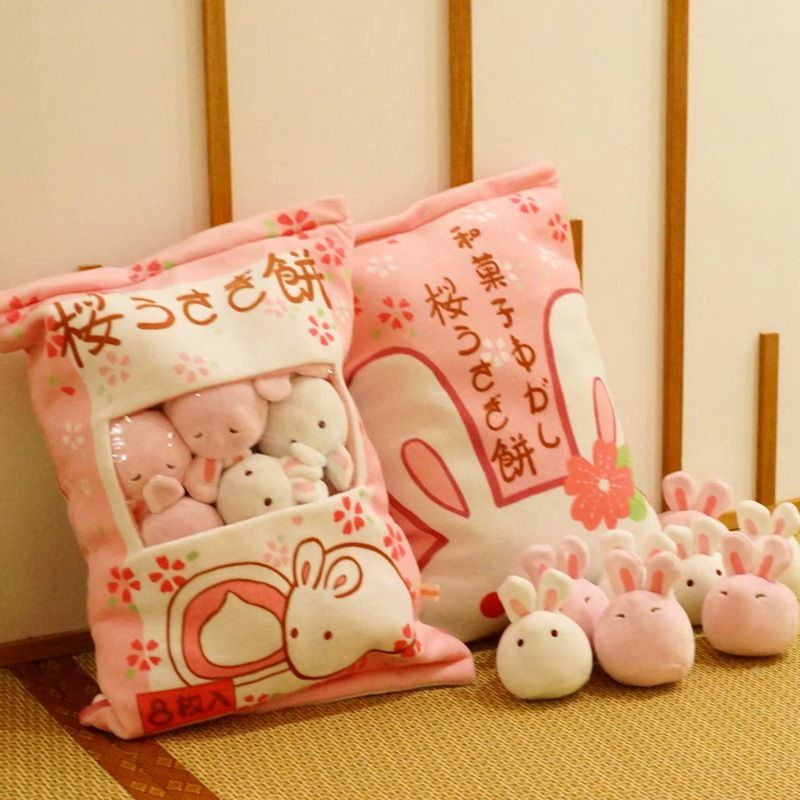 1pc Cute Rabbit Plush Pillows With 8 Small Pudding Bunny Plush Toys Girls Boy Gift Lovely Kids Bolster Plush Toys For Children
